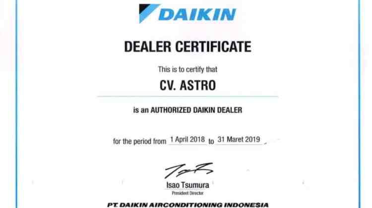 Sertifikat Dealer Resmi Daikin Indonesia 2018 – 2019