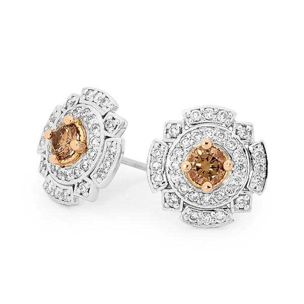 Art Deco Chocolate Diamond Earrings