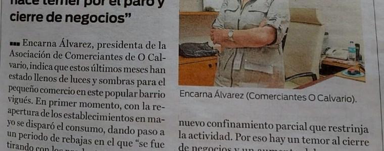 """Encarna Álvarez, presidenta de la Asociación de Comerciantes y Empresarios del Calvario: """"La posibilidad de un nuevo confinamiento hace temer por el paro y cierre de negocios""""."""