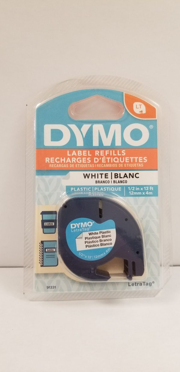 Dymo 1/2 inch White Plastic Label Refills for LetraTag