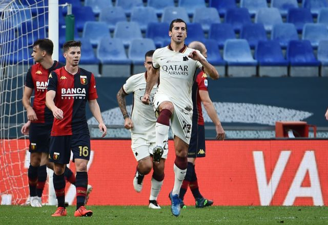 Mkhitaryan reacts after scoring hat-trick for Roma against Genoa