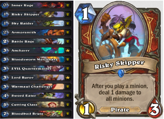 Enrage Warrior deck core & Risky Skipper card