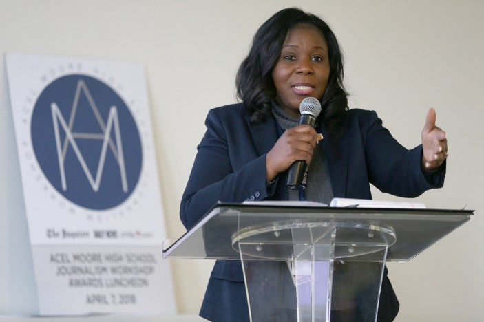 Deputy editor for power and policy Yvette Ousley speaks during the Acel Moore High School Journalism Workshop awards luncheon at the Philadelphia Media Network office in Center City on Saturday, April 7, 2018. The luncheon honored the 21 students who participated in this year's workshop. TIM TAI / Staff Photographer