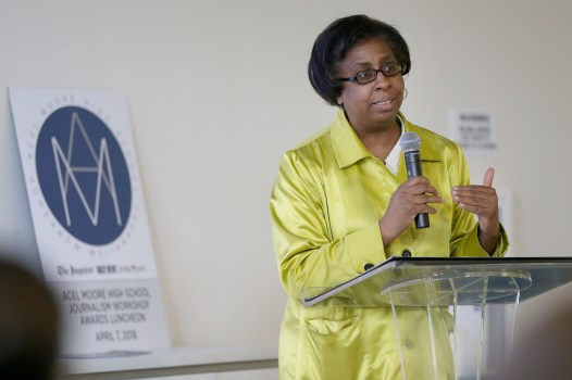 Newspapers in Education Manager Angie Baylock speaks during the Acel Moore High School Journalism Workshop awards luncheon at the Philadelphia Media Network office in Center City on Saturday, April 7, 2018. The luncheon honored the 21 students who participated in this year's workshop. TIM TAI / Staff Photographer