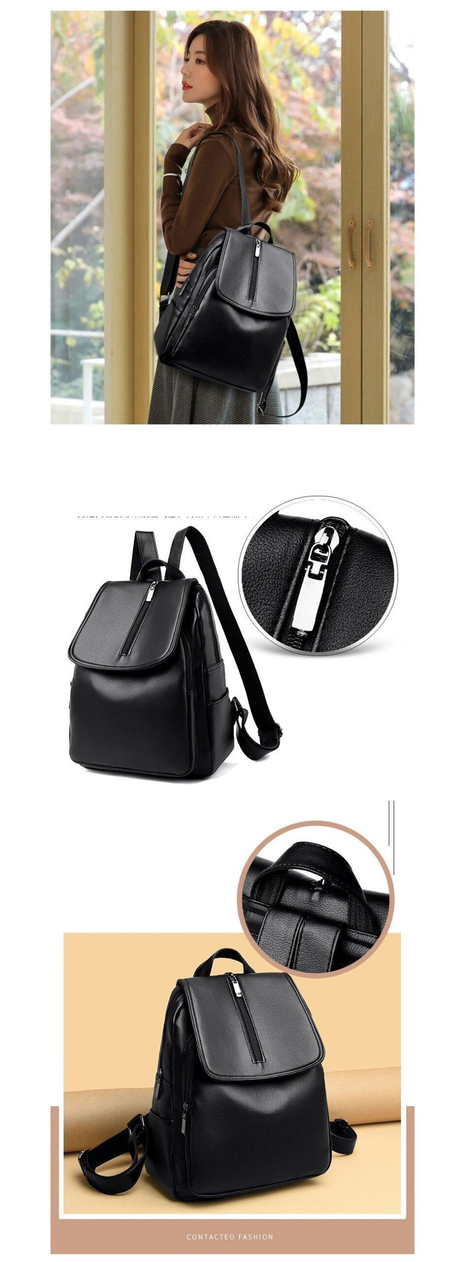 ACELURE Solid Color Soft PU Leather Large Casual Fashion Bags Zipper Backpacks Teenager High Capacity School Bags for Students