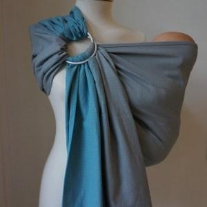Storchenwiege® sling z obročki Leo turkizno-siv 1