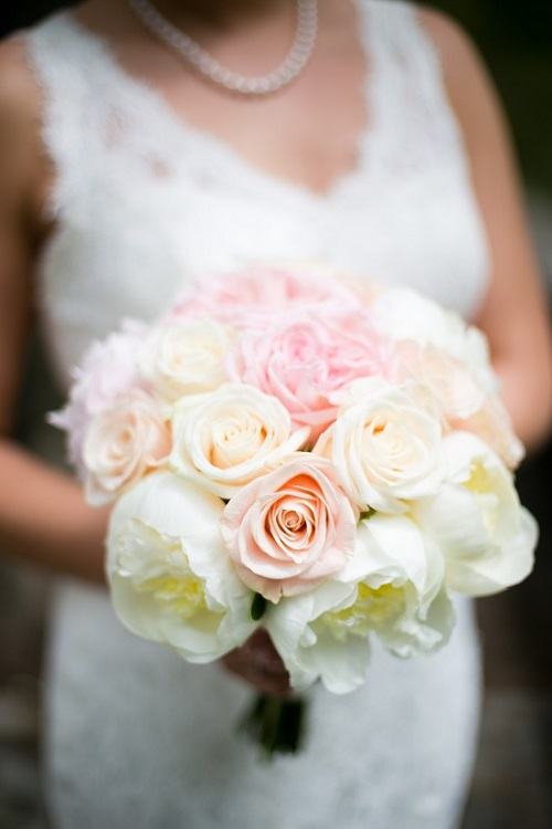blush wedding bouquet white peonies - Garden Rose And Peony