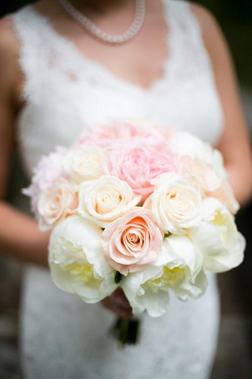 Blush Wedding Bouquet White Peonies