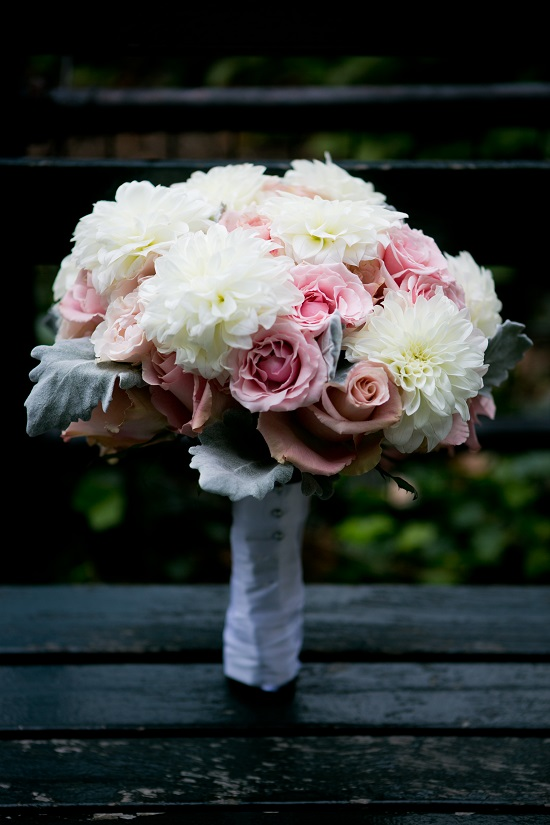 Bridal Bouquet Dahlias Roses White Pink