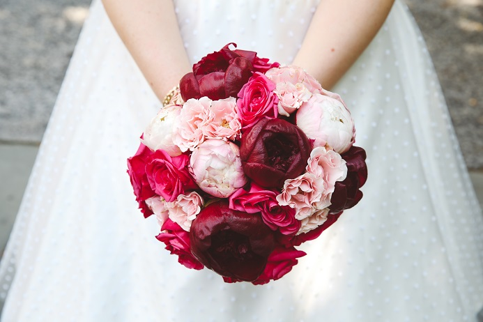 Red and silver wedding bouquet
