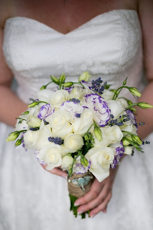 Wedding flower ideas for outdoor weddings modern bridesmaid bouquet of cream roses green cymbidium orchids picasso and purple mini calla lilies mightylinksfo