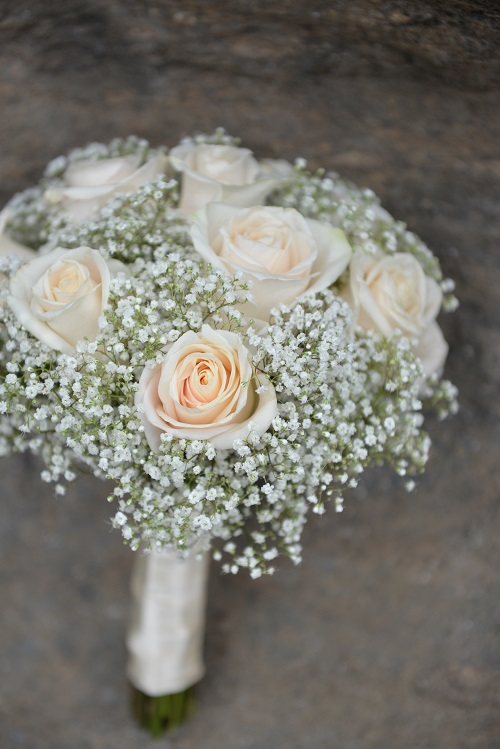 roses babys breath bridal bouquet - Garden Rose Bouquet