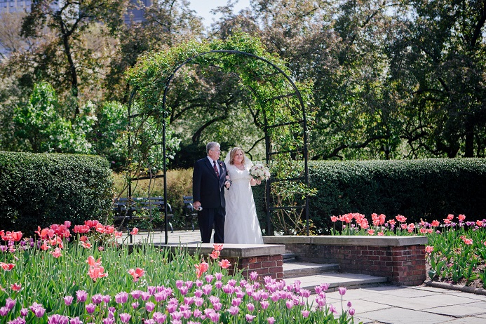 The North Garden Was In Full Bloom With Colorful Tulips Perfect Backdrop For Their Intimate Wedding Congratulations Carolee And Ervin