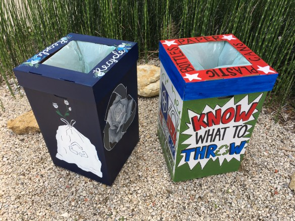 Most Artistic (left) and Most Creative (right) recycling bins.