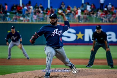 Aces starting pitcher #47 Edwin Escobar during Reno Aces Vs El Paso Chihuahuas, Independence Day Celebration