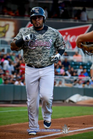El Paso's Hector Sanchez with Two Home runs at the Memphis Redbirds vs El Paso Chihuahuas, at Southwest University Park