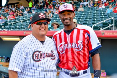 Manuel Chavez III ( Manager of the Day) along with Jabari Blash at Reno Aces Vs El Paso Chihuahuas, Independence Day Celebration