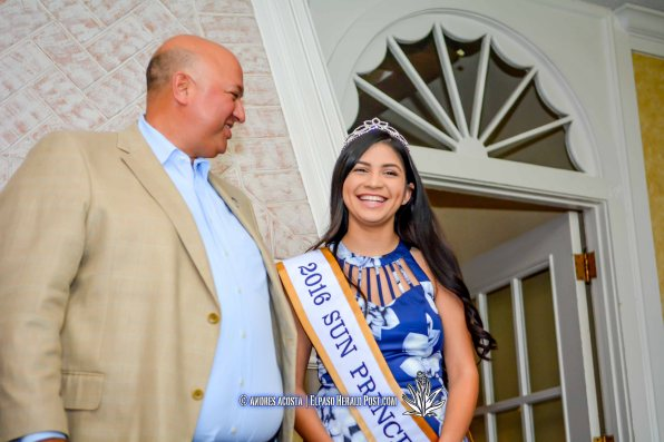 2016 Sun Bowl President Steve Beltran and Sun Princess Kayla Quintero at the 2016 Sun Court Coronation at the El Paso Country Club