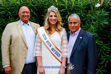 sun Bowl President Steve Beltran and Sun Queen Katherine Carroll-Miller and Executive Director Bernie Olivas at the 2016 Sun Court Coronation at the El Paso Country Club