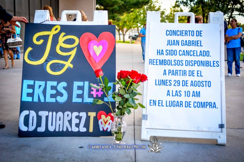 Fans of the Iconic Mexican Singer Juan Gabriel gather outside the Don Haskins center and mourning the loss. Juan Gabriel was set to Perform tonight at the Haskins center to a Sold out crowd.