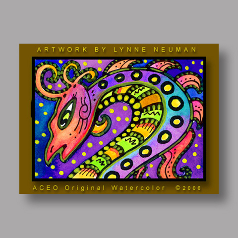 Signed ACEO *Whimsical Dragon #206* by Lynne Neuman