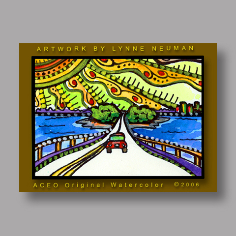 Signed ACEO Print *Sanibel Florida Causeway #225* by Lynne Neuman