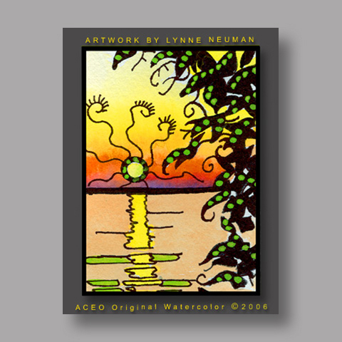 Signed ACEO Print *Lake Erie Sunset #260* by Lynne Neuman