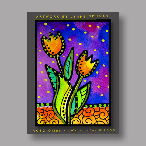 Signed ACEO Print *Tulips Flowers #277* by Lynne Neuman