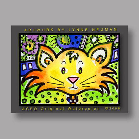 Signed ACEO Print *Whimsical Cat #283* by Lynne Neuman