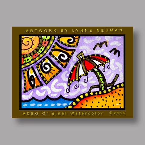 Signed ACEO *Beach Umbrella #408* by Lynne Neuman