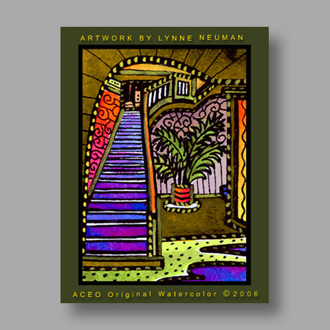 Signed ACEO Print *Stairs #458* by Lynne Neuman