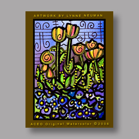Signed ACEO Print *Tulips Flowers #531* by Lynne Neuman
