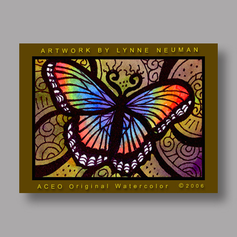 Signed ACEO *Rainbow Butterfly #538* by Lynne Neuman