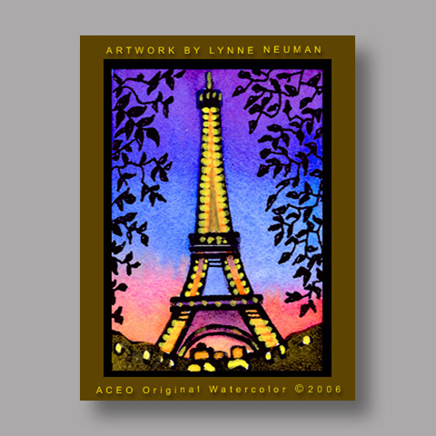 Signed ACEO Print *Eiffel Tower Paris #546* by Lynne Neuman