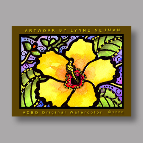 Signed ACEO *Hibiscus Flower #547* by Lynne Neuman