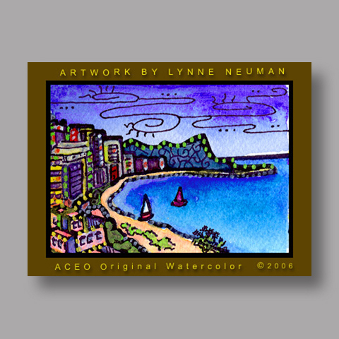 Signed ACEO *Waikiki Honolulu Hawaii #554* by Lynne Neuman