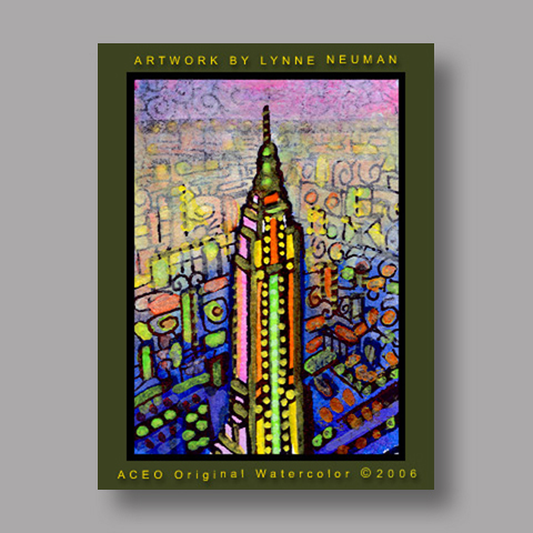 Signed ACEO Print *Empire State Building New York #555* by Lynne Neuman
