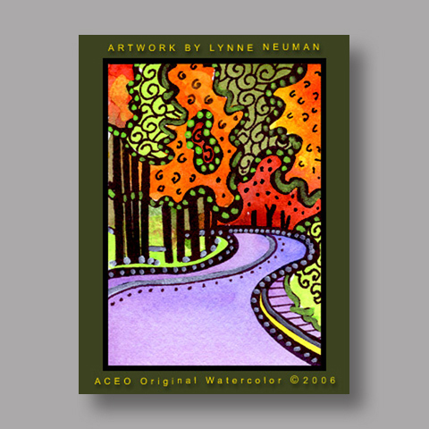 Signed ACEO *Autumn Vermont Road #644* by Lynne Neuman
