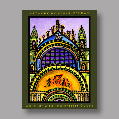 Signed ACEO Print *St. Mark's Basilica Venice Italy #0661* by Lynne Neuman