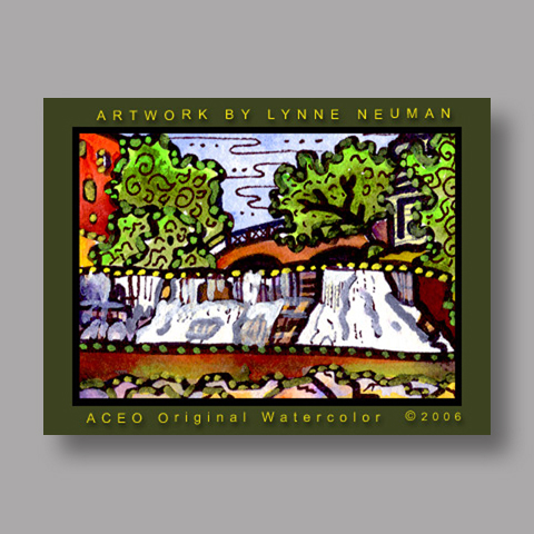 Signed ACEO Print *Chagrin Falls Ohio #800* by Lynne Neuman
