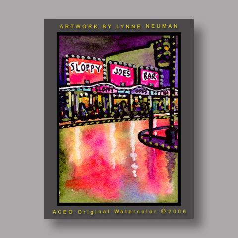 Signed ACEO *Sloppy Joe's Key West #842* by Lynne Neuman
