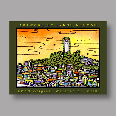 Signed ACEO *Coit Tower San Francisco #858* by Lynne Neuman