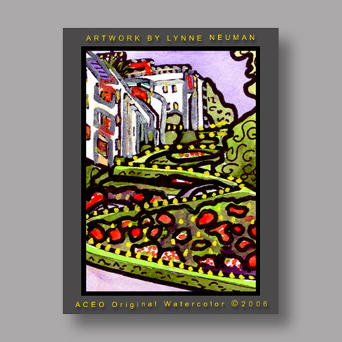 Signed ACEO *Lombard Street Crookedest San Francisco #865* by Lynne Neuman