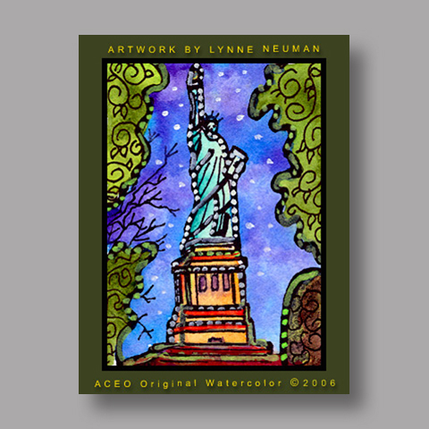 Signed ACEO Print *Statue of Liberty NY #878* by Lynne Neuman