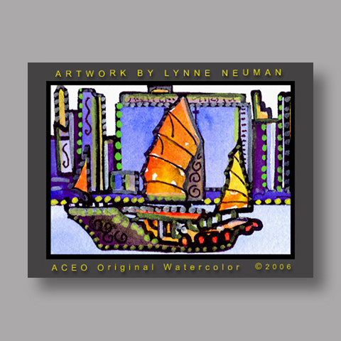 Signed ACEO Print *Chinese Junk Boat #1175* by Lynne Neuman