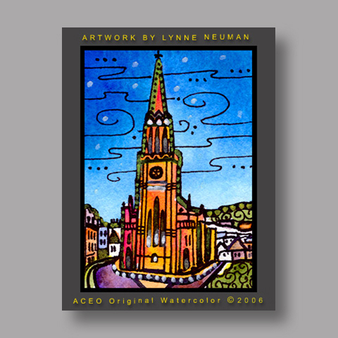 Signed ACEO Print *London Church #1191* by Lynne Neuman