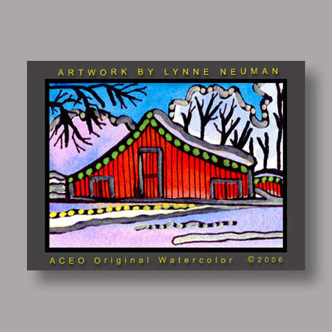 Signed ACEO Print *Red Barn Winter #1214* by Lynne Neuman