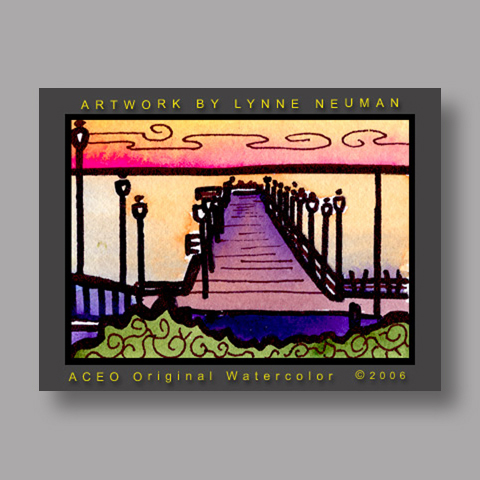 Signed ACEO Print *California Pier #1217* by Lynne Neuman