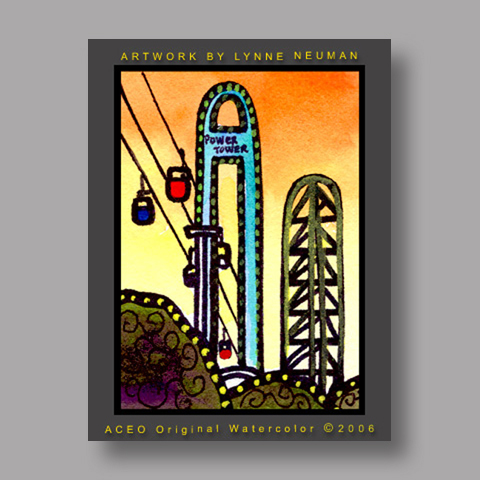 Signed ACEO Print *Cedar Point Ohio #1256* by Lynne Neuman