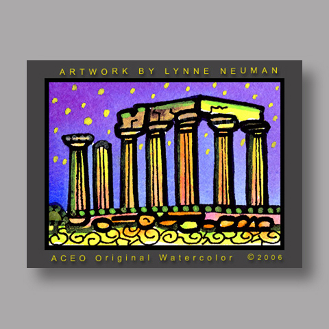Signed ACEO Print *Greek Ruins Greece #1264* by Lynne Neuman